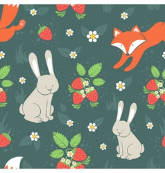 Rabbits and fox seamless pattern vector