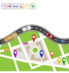Road infographics winding road with markers on vector