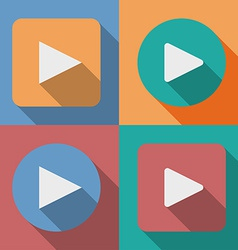 Set of play button icons with a long shadow vector image vector image