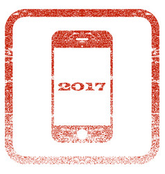 Smartphone 2017 framed textured icon vector