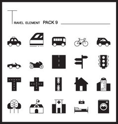 Travel element line icon set 9city and urban thin vector