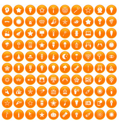 100 light icons set orange vector