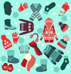 Different fashion warm clothes in flat style vector
