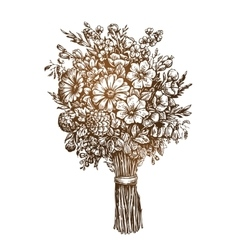 Hand drawn bouquet meadow flowers vintage sketch vector