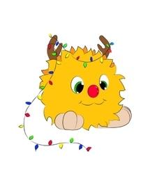Christmas cartoon character horns garland monster vector