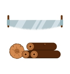 Lumberjack saw and wood tools icons vector