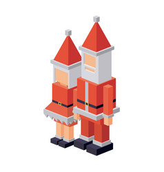 Isometric santa and wife design vector