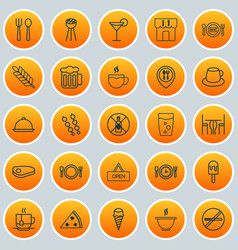 Eating icons set collection of wheat board vector