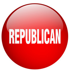 Republican red round gel isolated push button vector
