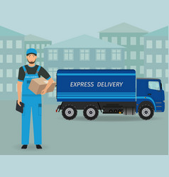 Delivery employee character standing with folder vector