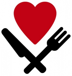 Heart fork and knife vector