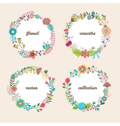 Set of four colorful floral wreaths vector