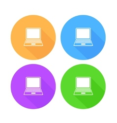 Flat long shadow laptop icons set vector