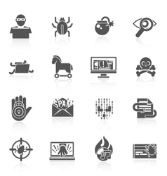 Hacker icons black set vector
