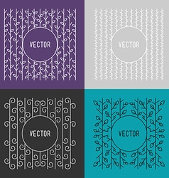 Set of line art floral decoration frames design vector