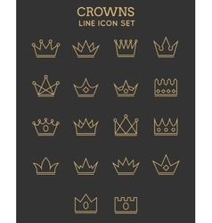 Crown line icon set vector