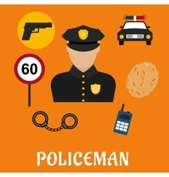 Policeman in uniform with police icons vector