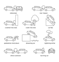 Car crash or insurance line icons vector image