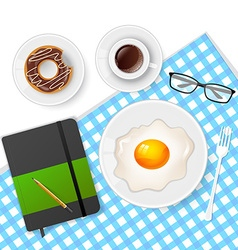 Tasty breakfast with coffee and eggs vector