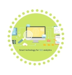 Smart technology for seo analytics icon flat vector