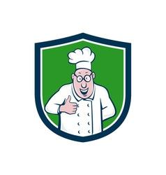 Chef cook thumbs up crest cartoon vector