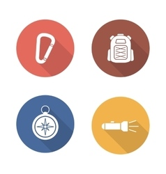 Hiking flat design icons set vector