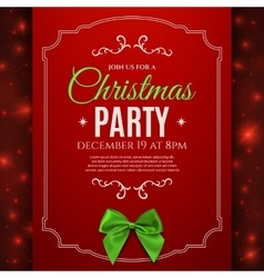 Christmas party poster template with green bow vector image