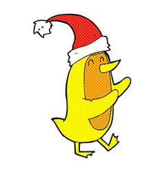 Comic cartoon bird wearing xmas hat vector