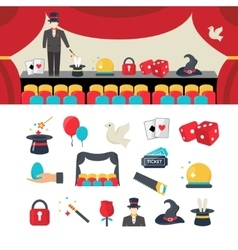 Magician icons set vector image