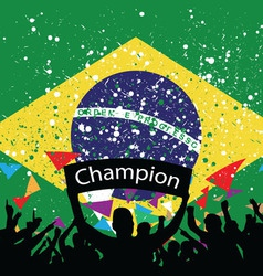 Crowd cheer brazil vector