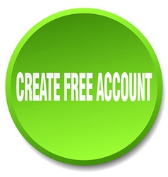 Create free account green round flat isolated push vector