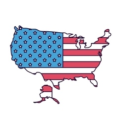 Usa map with flag isolated icon design vector