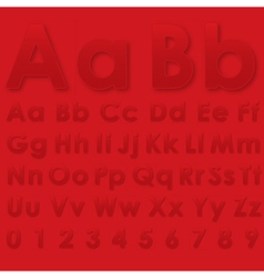 Alphabet pseudo 3d letters on a red vector