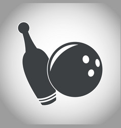 Ball and pine bowling black and white vector