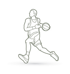 Basketball player running vector