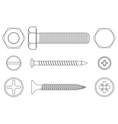 bolt screws and nut white outline icons vector image vector image