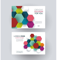 Business card design with paper hexagons vector image vector image