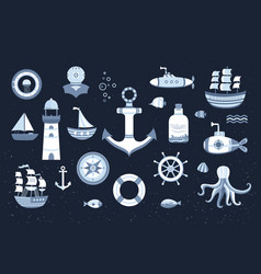 Collection of marine elements vector