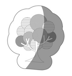 contour stamp beautiful tree icon vector image