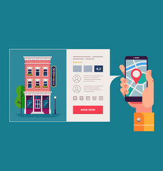 design concept of hotel search and booking online vector image vector image