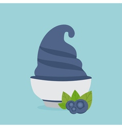 Frozen yogurt in the cup with blueberry design vector