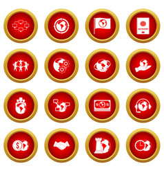 Global connections icon red circle set vector