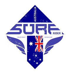 Gold coast Australia surf rider t-shirt vintage vector image