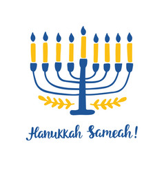 happy hanukkah hand written brush lettering vector image