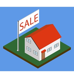 Isometric house with sale banner vector image vector image