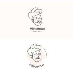Italian cook head mascot logotype Pizzeria vector image vector image