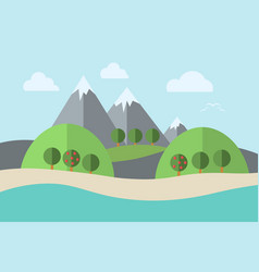 landscape water trees vector image vector image