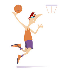 man plays basketball isolated vector image vector image
