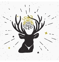 Merry xmas with deer black silhouette vector image