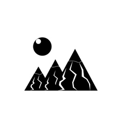 Mountains with sun icon simple style vector